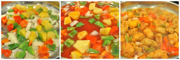 Pineapple, onions, bell peppers and sauce are heated to coat the sweet and sour pork.