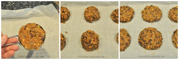 Black bean burgers mix is portioned out into 6 (1/3 cup) patties, then flattened.