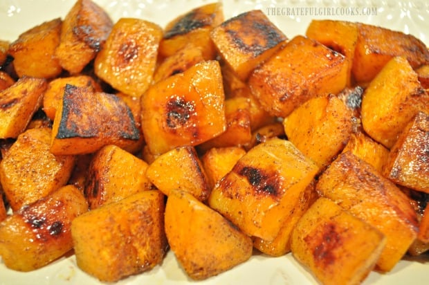 The maple cinnamon butternut squash is caramelized on the outside and soft on the inside.