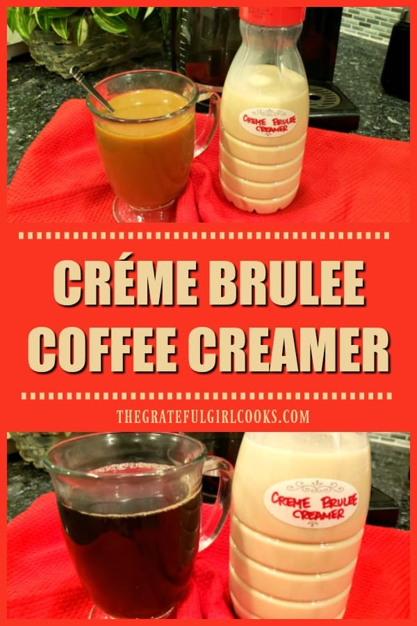 It's SO EASY to make yummy Créme Brulee Coffee Creamer from scratch, in 10 minutes, using only 4 ingredients! A great addition to morning coffee!