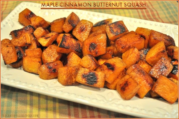 Maple Cinnamon Butternut Squash is an easy to make, healthy and delicious roasted vegetable side dish - caramelized squash you're gonna love!