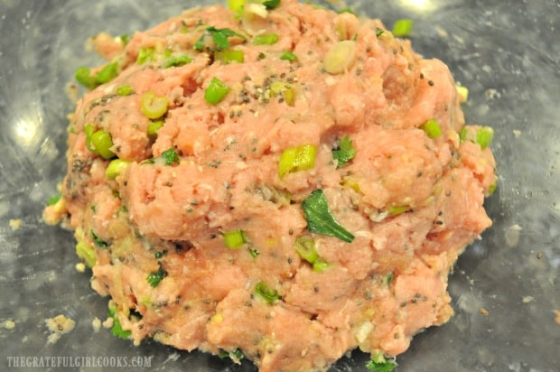Meat mixture is ready to form Thai turkey meatballs for baking.