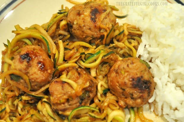 The zucchini noodles, sauce and Thai turkey meatballs are served, along with rice on the side.