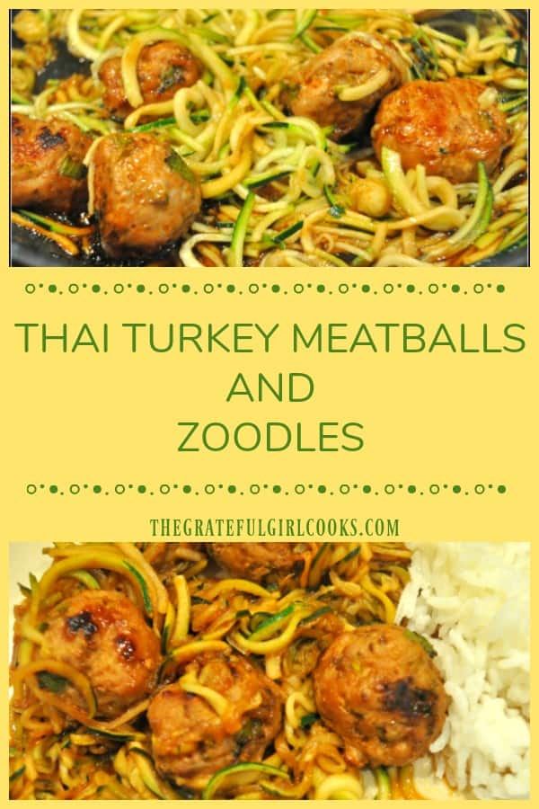 Thai turkey meatballs are baked, then combined with spiralized zucchini noodles, and covered with a soy/sriracha/lime/honey glaze in this yummy dish!