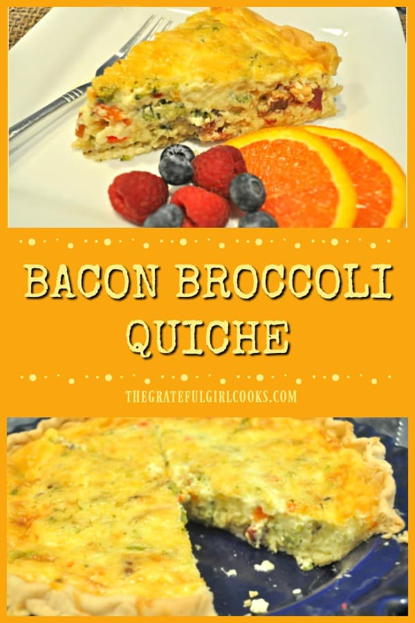 Bacon broccoli quiche is a perfect dish for any meal! Bacon, broccoli, red pepper & garlic add flavor to this egg based dish, baked in a pie crust.