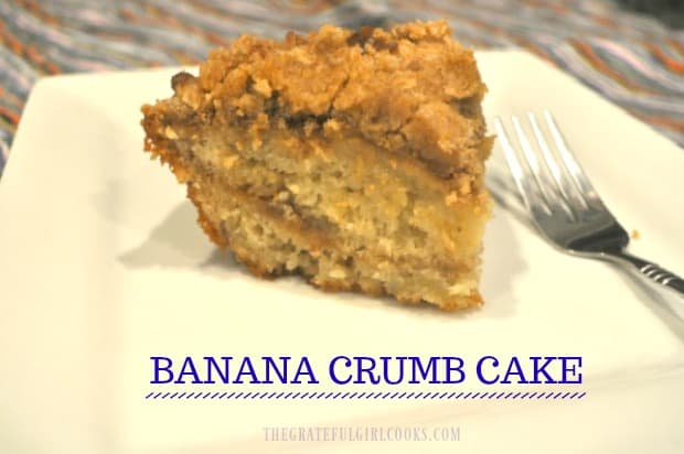 You'll LOVE this easy to make, delicious Banana Crumb Cake! It's a banana cake (dessert or coffeecake), with layers of streusel inside and on top!