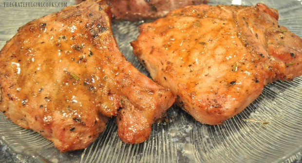 The Caribbean jerk pork chops have come off the grill, and are ready to eat!