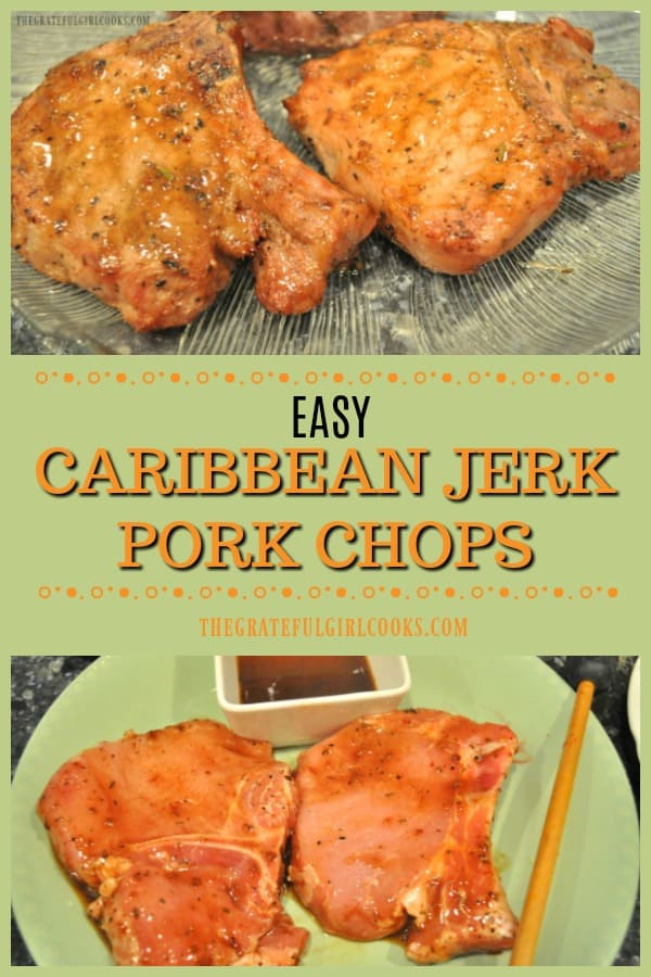 Caribbean Jerk Pork Chops are marinated in a 2 ingredient sauce, then grilled on a traditional BBQ or a smoker grill! Such a SIMPLE, delicious dish!