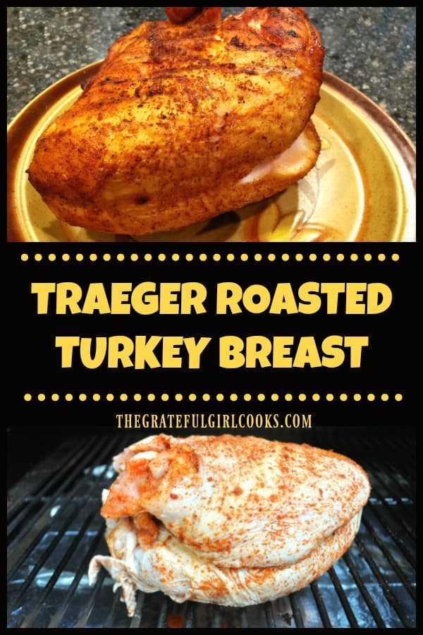 Traeger roasted turkey breast is an easy way to cook a delicious, well seasoned turkey breast on the smoker/grill, without heating up the kitchen!