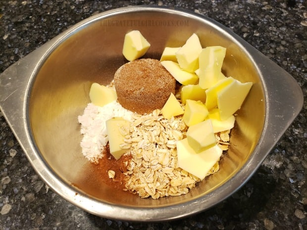 Ingredients for the streusel topping for the blueberry crumble are combined in a bowl.