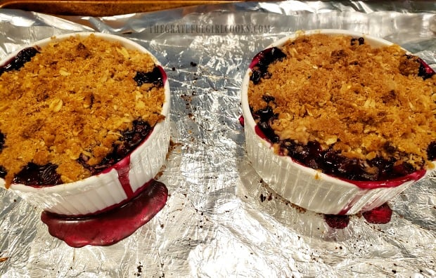 This is a photo of two finished blueberry crumbles, cooling off after baking.