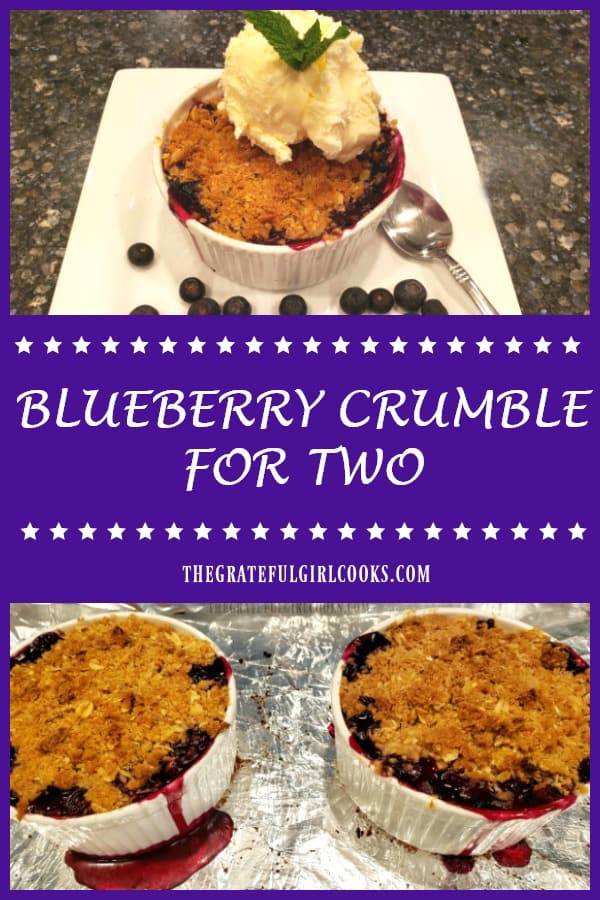 Blueberry Crumble For Two is a simple and delicious dessert, featuring ramekins packed with fresh blueberries, capped with a buttery streusel topping!