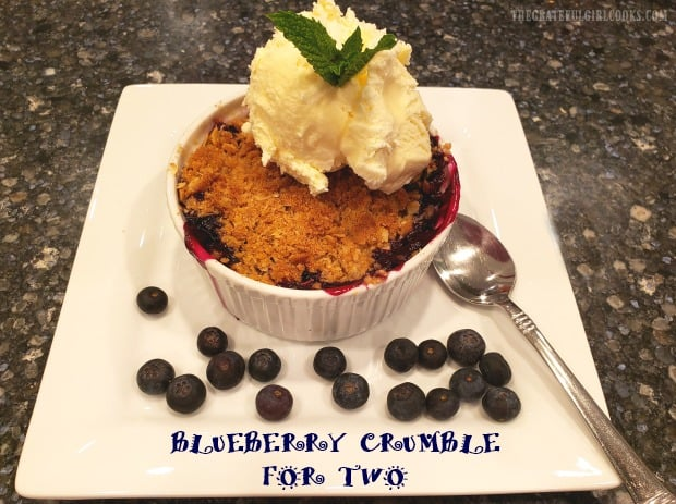 Blueberry Crumble For Two is a simple and delicious dessert, featuring ramekins packed with fresh blueberries, topped with a buttery streusel topping!