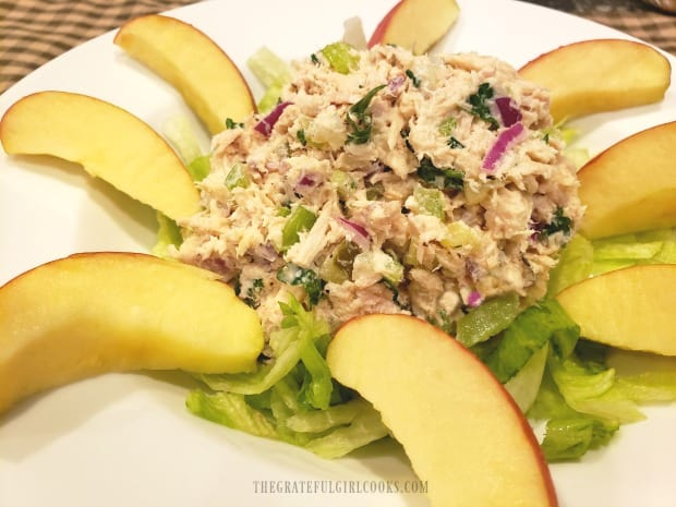 Classic tuna salad, on a bed of chopped lettuce, with apple slices on the side.