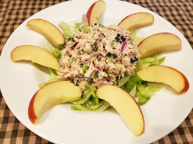 The classic tuna salad, with apple slices on the side is a filling, flavor packed meal!