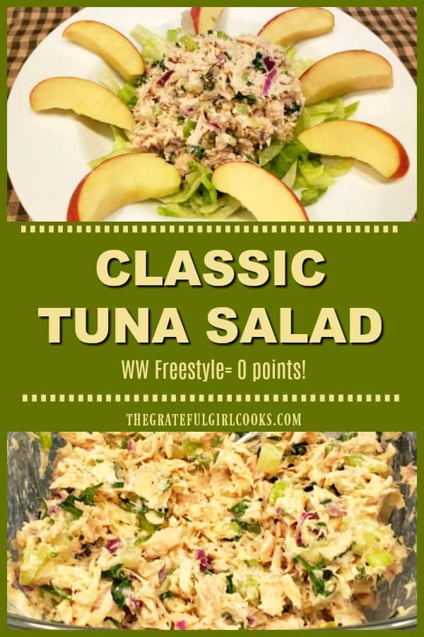 Classic Tuna Salad is a filling, healthy, delicious entree salad that's Weight Watchers friendly (ZERO points Freestyle), and is ready in 10 minutes!