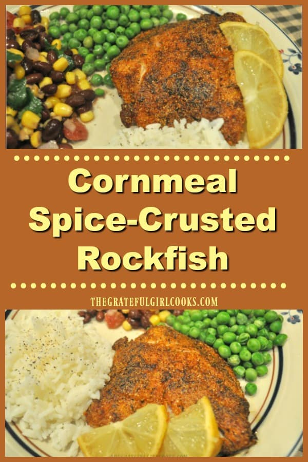 Cornmeal Spice-Crusted Rockfish is an EASY pan-seared Weight Watchers entree (2 SP). Delicious, simple, gluten free, and ready to eat in under 20 minutes!