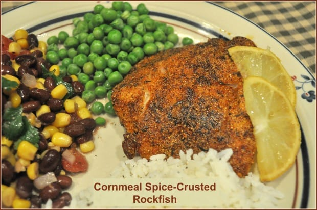 Cornmeal Spice-Crusted Rockfish is an EASY pan-seared Weight Watchers entree. Delicious, simple, gluten free, and ready to eat in under 20 minutes!
