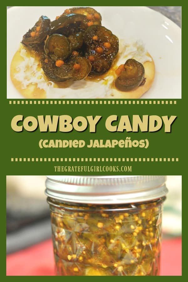 Cowboy Candy (also known as candied jalapenos) tastes great on cream cheese covered crackers or burgers! It's easy to can them for long term storage.