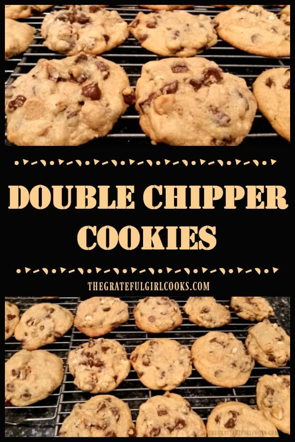 Double Chipper Cookies are delicious homemade treats filled with semi-sweet chocolate chips, peanut butter chips, and chopped pecans or walnuts!