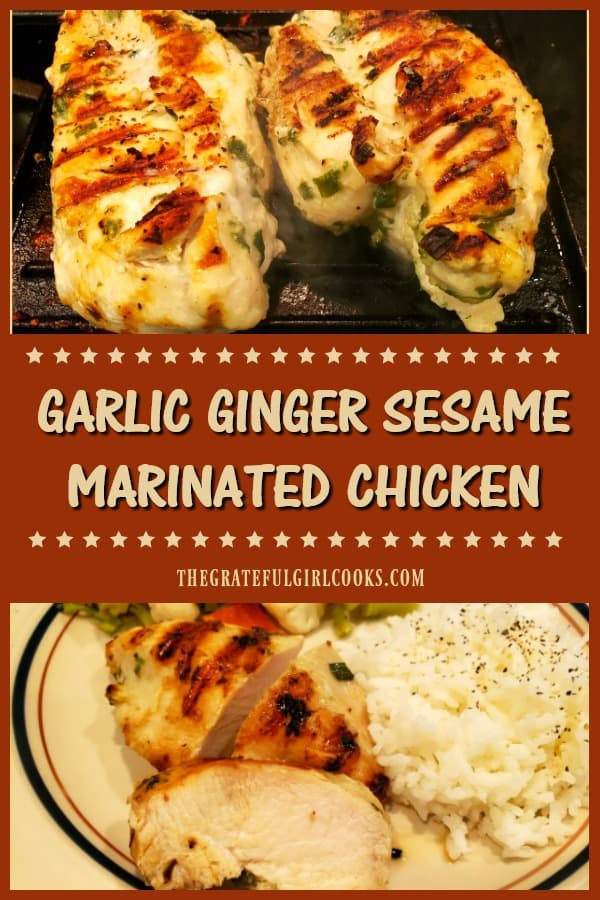Garlic Ginger Sesame Marinated Chicken is delicious and easy to make! Chicken breasts are marinated in sauce, and cooked on a BBQ or indoor grill pan!