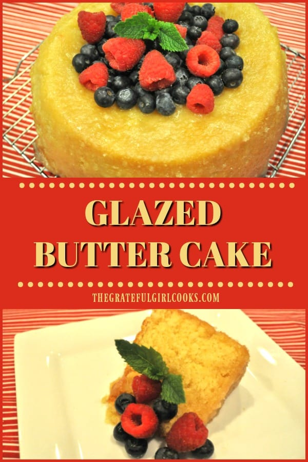 Glazed Butter Cake is a yummy, easy tube pan cake that is completely covered with a sweet icing (also poked down into cake). This is a GREAT dessert!