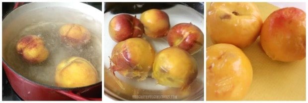 Peaches are dipped in boiling water, then ice water to remove peels.