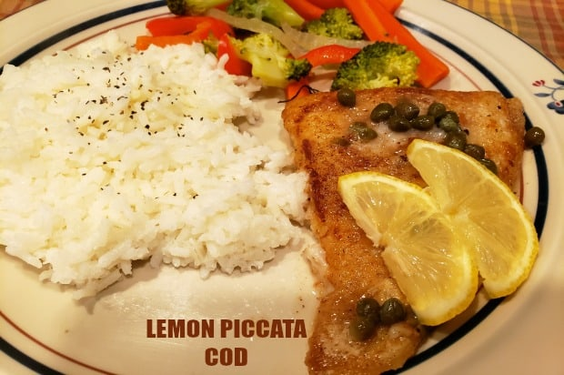 Lemon Piccata Cod is a simple, delicious dish that features pan-seared cod, cooked in butter, and topped with a lemon, wine and caper sauce to serve.