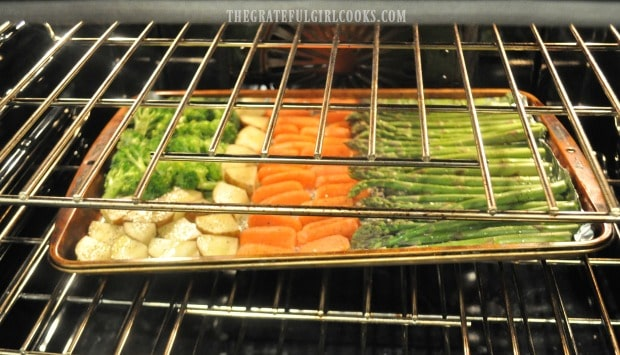 Oven roasted veggies, cooking away in the oven.