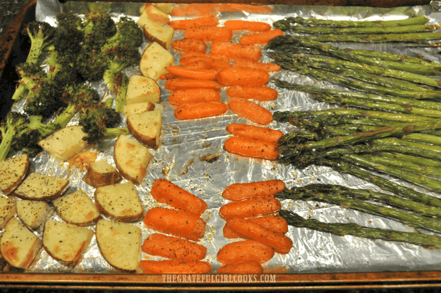 The vegetables are flipped to other side half way through roasting time.
