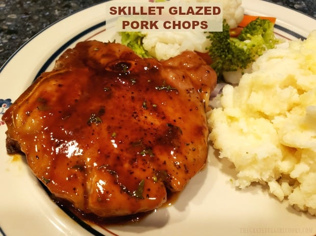 Delicious Skillet Glazed Pork Chops (boneless or bone-in) are covered in a simple, four ingredient glaze, and take only 25 minutes to prepare!