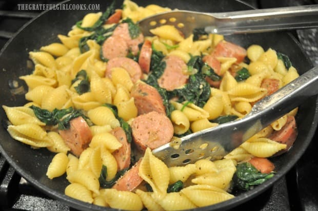 The chicken sausage and spinach pasta is almost ready!
