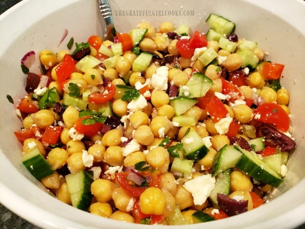 A bowl full of the Greek garbanzo salad, ready to eat!