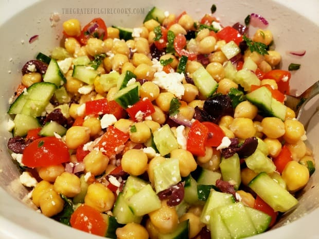 Greek garbanzo salad is chilled, then served!