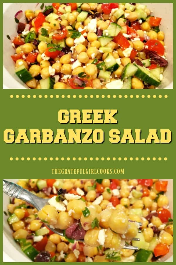 Delicious Greek garbanzo salad, with kalamata olives, feta cheese, cucumbers, peppers & light dressing, is vegetarian, gluten-free, and super easy!