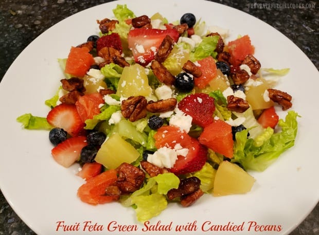 Fruit feta green salad w/ candied pecans & poppyseed dressing is a Panera copycat recipe, w/ romaine, strawberries, pineapple, blueberries & oranges!
