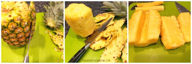 Peeling and slicing the fresh pineapple for grilling.