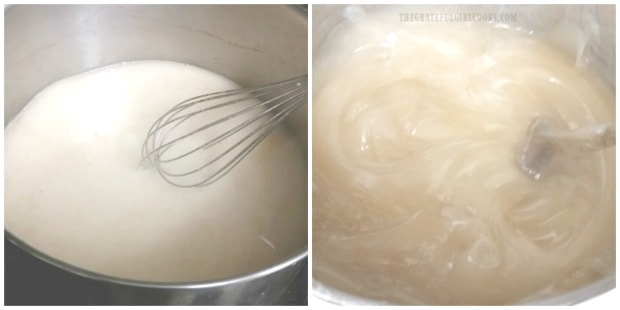 The thickener for the apple pie filling is cooked until thickened.