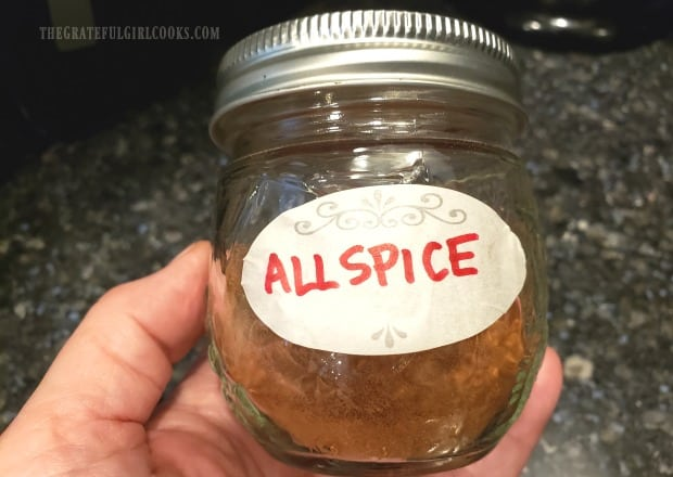 Allspice should be stored in a labeled, airtight container.