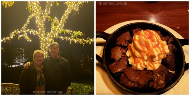 Anniversary photo and skillet brownie we received at restaurant, to celebrate the occasion.