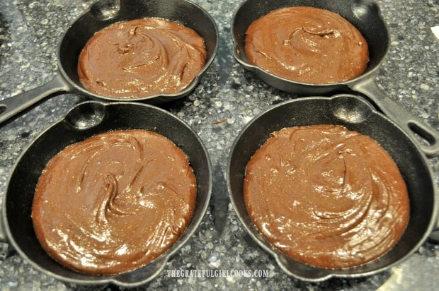 "Four 6"" mini cast iron skillets were used to cook the brownies in."
