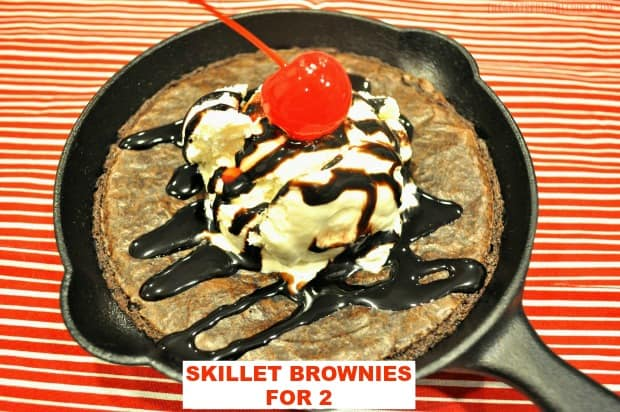Cook cute mini skillet brownies for two on a pellet grill OR in an oven! It's fun & romantic to share this EASY dessert with those you love!