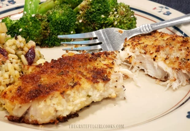 The panko crusted rockfish is cooked through, and flakes easily.