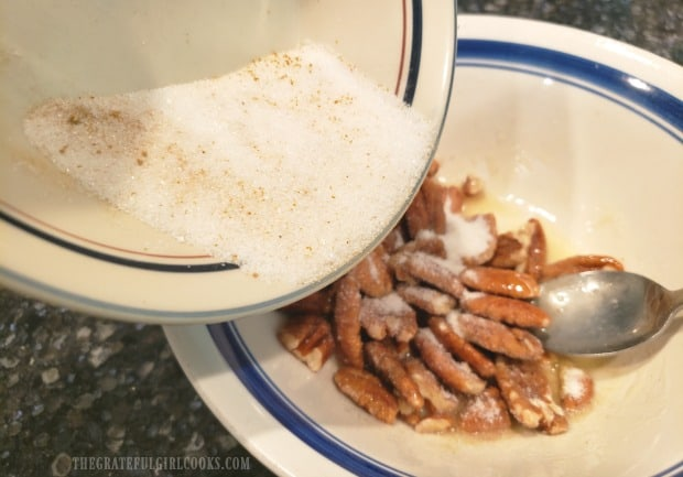 Sugar mixed with curry powder, ginger, salt and red pepper is added to the buttered pecans.