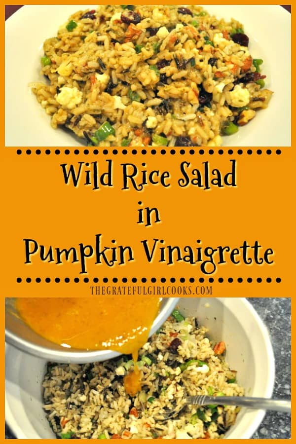 Enjoy this wild rice salad, with dried cranberries, cauliflower, green onions, and toasted pecans, seasoned with an easily made pumpkin vinaigrette!