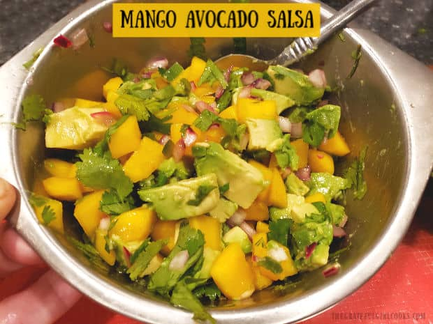 Make delicious mango avocado salsa in 10 minutes! It's a perfect topping for fish, chicken & pork, or can be served as an appetizer w/ tortilla chips!