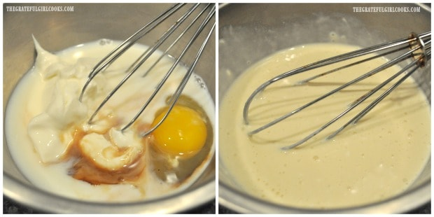 Sour cream, vanilla, egg, and milk are whisked together to make bread batter.