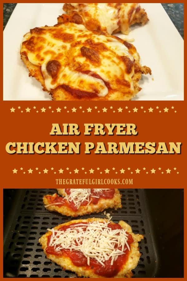 Air Fryer Chicken Parmesan is a quick and easy way to make this classic Italian dish (cooks in 10 minutes)! Tender inside, & crispy on the outside.