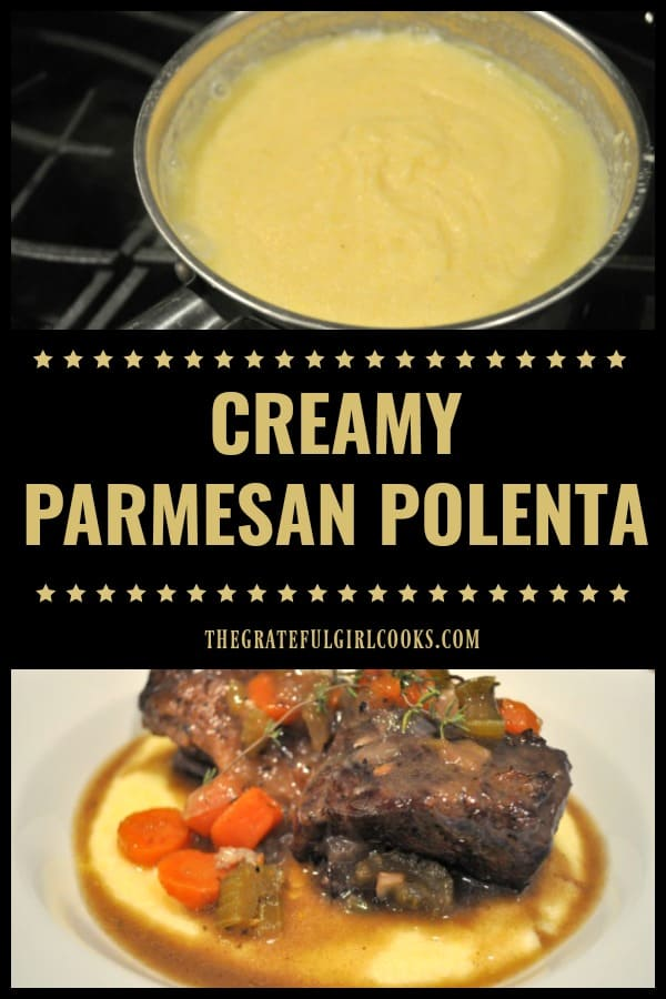 Creamy Parmesan Polenta is a delicious, EASY to make (10 minutes) dish that's full of flavor, and a perfect side dish for a variety of entrees.
