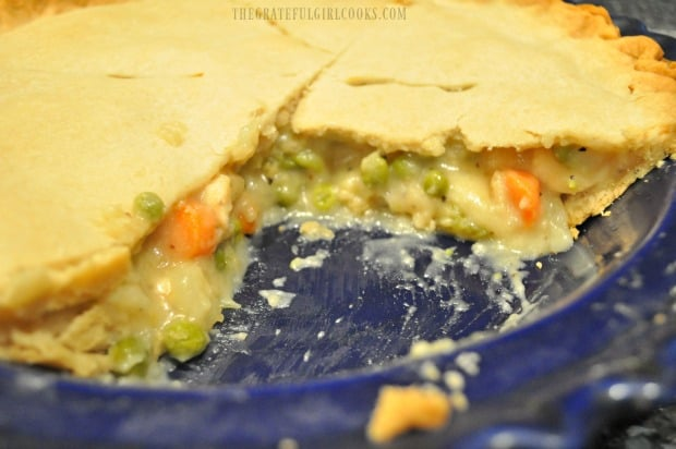 A peek at the inside of this easy chicken pot pie after removing a slice.